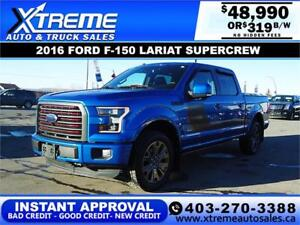 2016 FORD F-150 LARIAT SUPERCREW 4X4 *INSTANT APPROVAL $319/BW