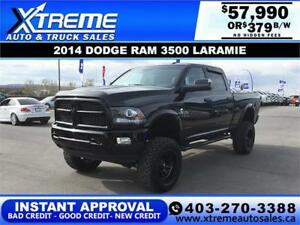 2014 RAM 3500 LARAMIE LIFTED *INSTANT APPROVAL $0 DOWN $379/BW