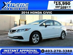 2014 Honda Civic $109 bi-weekly APPLY NOW DRIVE NOW