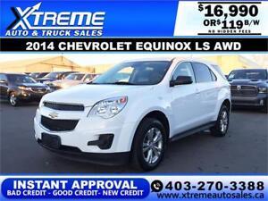 2014 CHEVROLET EQUINOX LS AWD $119 B/W! APPLY NOW DRIVE NOW