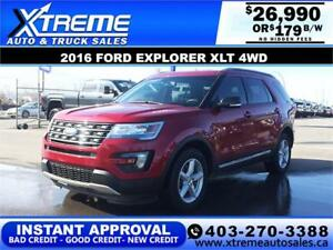 2016 FORD EXPLORER XLT 4WD *$0 DOWN* $179 B/W APPLY NOW