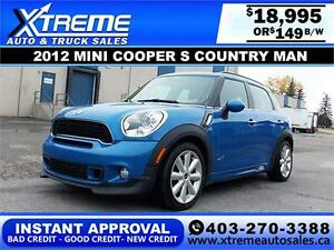 2012 Mini Cooper S Countryman $149 bi-weekly APPLY NOW DRIVE NOW