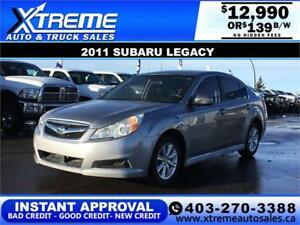 2011 SUBARU LEGACY PZEV 2.5L AWD $139 B/W APPLY NOW DRIVE NOW