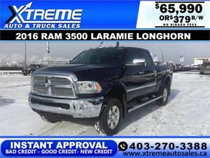 2016 RAM 3500 LARAMIE LONGHORN *INSTANT APPROVAL $0 DOWN $369/BW
