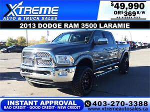 2013 RAM 3500 LARAMIE LIFTED *INSTANT APPROVAL* $0 DOWN $369/BW!