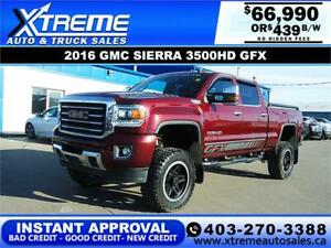 2016 GMC SIERRA 3500HD GFX LIFTED *INSTANT APPROVAL* $439/BW!
