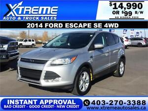 2014 FORD ESCAPE SE 4WD EcoBoost$99 BI-WEEKLY *INSTANT APPROVAL*