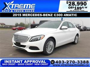 2015 MERCEDES-BENZ C300 4MATIC $189 B/W APPLY NOW DRIVE NOW
