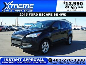2015 FORD ESCAPE SE AWD $89 BI-WEEKLY *INSTANT APPROVAL* $0 DOWN