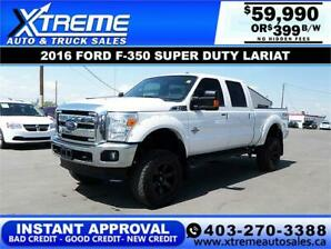 2016 FORD F-350 LARIAT SD LIFTED *INSTANT APPROVAL* $399/BW!