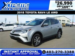 2018 TOYOTA RAV4 LE AWD *INSTANT APPROVAL* $0 DOWN $169/BW!