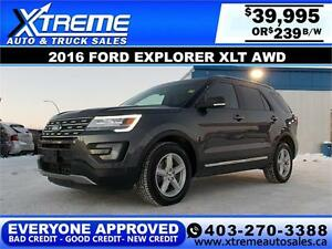 2014 Ford Explorer XLT 4WD $239 BI-WEEKLY APPLY NOW DRIVE NOW