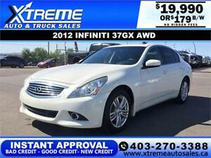 2012 INFINITI 37GX AWD $0 DOWN $179 B/W APPLY NOW