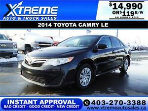 2014 TOYOTA CAMRY LE *$0 DOWN $119 B/W APPLY NOW DRIVE NOW