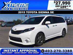 2015 TOYOTA SIENNA SE 8-PASSENGER *$0 DOWN* $189 B/W APPLY NOW