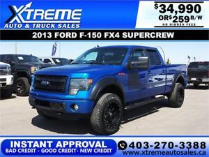 2013 FORD F-150 FX4 SUPERCREW *INSTANT APPROVAL $0 DOWN $259/BW!
