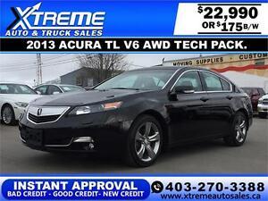 2013 Acura TL V6 AWD Tech pkg.$175 bi-weekly APPLY NOW DRIVE NOW