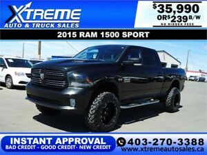 2015 RAM 1500 SPORT LIFTED *INSTANT APPROVAL $0 DOWN $239/BW