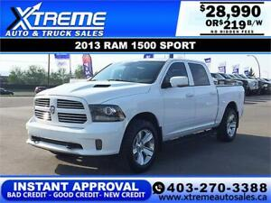 2013 RAM 1500 SPORT CREW $219 B/W APPLY NOW DRIVE NOW