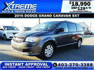 2016 DODGE GRAND CARAVAN SXT $129 B/W $0 DOWN* APPLY NOW