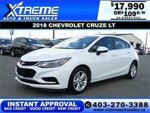 2018 CHEVROLET CRUZE LT *INSTANT APPROVAL* $0 DOWN $109/BW!
