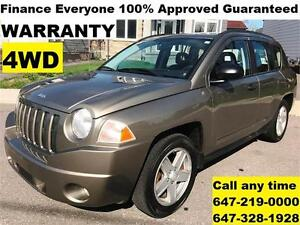 2008 Jeep Compass Sport 4X4 FINANCE ANYONE 100% APPROVED WARRANT
