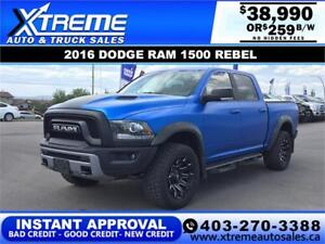 2016 RAM 1500 REBEL CREW CAB *INSTANT APPROVAL* $0 DOWN $259/BW!