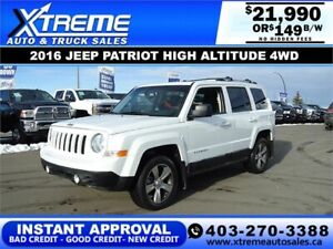 2016 JEEP PATRIOT HIGH ALTITUDE 4WD *$0 DOWN* $149 B/W APPLY NOW