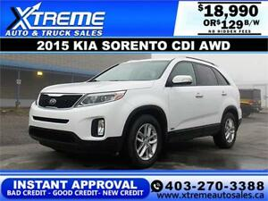 2015 Kia Sorento CDI AWD $129 BI-WEEKLY APPLY NOW DRIVE NOW