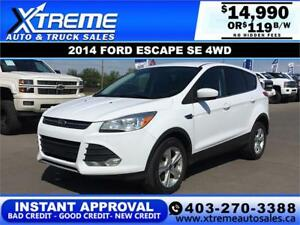 2014 FORD ESCAPE SE 4WD *INSTANT APPROVAL $0 DOWN $119/BW