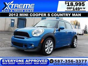 2012 Mini Cooper S Countryman $149 bi-weekly APPLY NOW DRIVE NOW