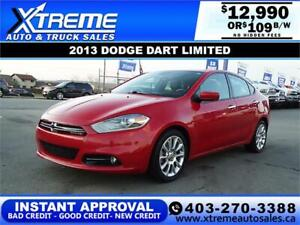 2013 DODGE DART LIMITED $109 B/W *$0 DOWN* APPLY NOW DRIVE NOW