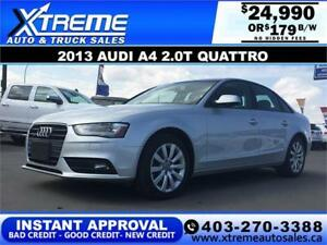 2013 Audi A4 2.0T Quattro $189 bi-weekly APPLY NOW DRIVE NOW