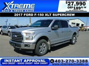 2017 FORD F-150 XLT SUPERCREW $189 B/W INSTANT APPROVAL