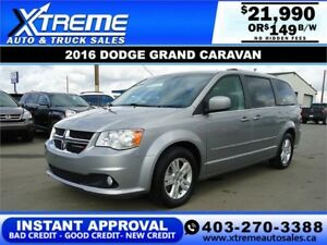 2016 DODGE GRAND CARAVAN CREW *INSTANT APPROVAL* $149 B/W!