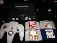 Nintendo 64 N64 with all cable 1 controller 4 games