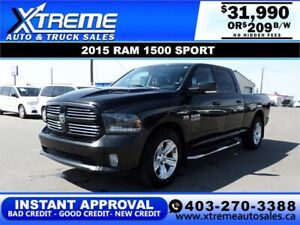 2015 RAM 1500 SPORT CREW CAB *INSTANT APPROVAL $0 DOWN $209/BW
