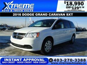 2016 DODGE GRAND CARAVAN SXT $129 BI-WEKLY APPLY NOW DRIVE NOW