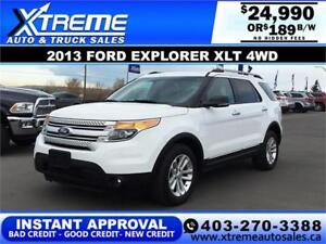 2013 FORD EXPLORER XLT 4WD $189 BI-WEEKLY APPLY NOW DRIVE NOW