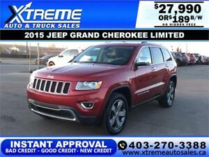 2015 JEEP GRAND CHEROKEE LIMITED $189 B/W APPLY NOW DRIVE NOW