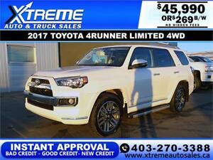 2017 TOYOTA 4RUNNER LIMITED *INSTANT APPROVAL* $0 DOWN $269/BW!