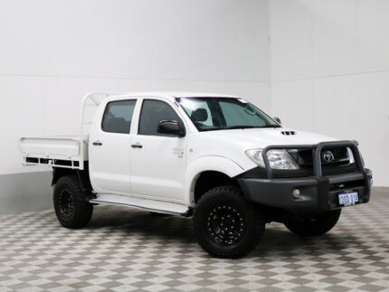 2010 Toyota Hilux KUN26R MY11 Upgrade SR (4x4) White 5 Speed Manual Dual Cab Chassis