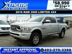 2016 RAM 3500 LIMITED CREW *INSTANT APPROVAL* $0 DOWN $379/BW