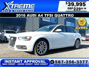 2016 Audi A4 TFSI Quattro $229 bi-weekly APPLY NOW DRIVE NOW