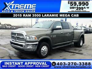 2015 RAM 3500 MEGA CAB DUALLY *INSTANT APPROVAL* $399/BW!