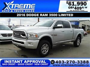 2016 RAM 3500 LIMITED CREW *INSTANT APPROVAL* $0 DOWN $409/BW