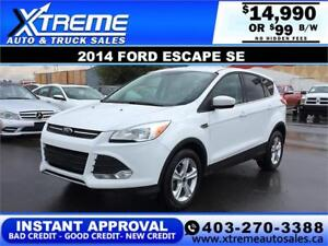 2014 FORD ESCAPE SE ECOBOOST $99 BI-WEEKLY *INSTANT APPROVAL*