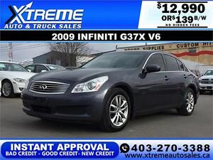 2009 Infiniti G37X V6 AWD $139 bi-weekly APPLY NOW DRIVE NOW