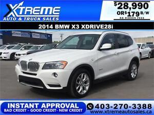 2014 BMW X3 Xdrive28i $0 DOWN  $179 b/w APPLY NOW DRIVE NOW