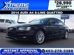 2014 Audi A4 S-line Quattro $159 Bi-Weekly APPLY NOW DRIVE NOW